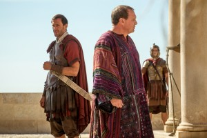Pilate (Peter Firth) and Clavius (Joseph Fiennes) discuss the failure to discover Jesus's body in Columbia Pictures' RISEN. ©CTMG. CR: Rosie Collins.