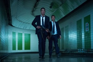 Gerard Butler (left) stars as Mike Banning and Aaron Eckhart (right) stars as Benjamin Asher in Babak Najafi's LONDON HAS FALLEN. ©Gramercy Films.