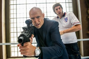 (l-r) Mark Strong and Sacha Baron Cohen in Columbia Pictures' THE BROTHERS GRIMSBY. ©CTMG. CR: Daniel Smith.