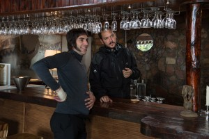 Sacha Baron Cohen and director Louis Leterrier on the set of Columbia Pictures' THE BROTHERS GRIMSBY. ©CTMG. CR: Daniel Smith.