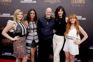 "Willow Shields, Meta Golding, Bruno Gunn, Eugenie Bondurant and Stef Dawson seen at ""The Hunger Games"" Fan Marathon at The Egyptian Theatre on Sunday, March 20, 2016, in Los Angeles, CA. (Photo by Eric Charbonneau/Invision for Lionsgate Home Entertainment/AP Images)"