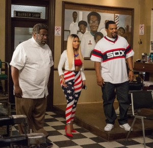 (l-r) Cedrick the Entertainer as Eddie, Nicki Minaj as Draya and Ice Cube as Calvin in BARBERSHOP: THE NEXT CUT. ©Warner Bros. Entertainment/MGM Pictures. CR: Chuck Zlotnick.