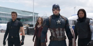 (l-r) Hawkeye/Clint Barton (Jeremy Renner), Scarlet Witch/Wanda Maximoff (Elizabeth Olsen), Captain America/Steve Rogers (Chris Evans), and Winter Soldier/Bucky Barnes (Sebastian Stan) in MARVELS CAPTAIN AMERICA: CIVIL WAR. ©Marvel.