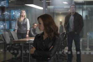 (l-r)  Sharon Carter/Agent 13 (Emily VanCamp), Sam Wilson/Falcon (Anthony Mackie), Natasha Romanoff/Black Widow (Scarlett Johansson), and Steve Rogers/Captain America (Chris Evans) in MARVEL'S CAPTAIN AMERICA: CIVIL WAR. ©Marvel. CR: Zade Rosenthal.