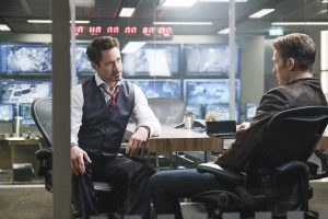 (l-r) Tony Stark/Iron Man (Robert Downey Jr.) and Steve Rogers/Captain America (Chris Evans) in MARVEL'S CAPTAIN AMERICA: CIVIL WAR. ©Marvel. CR: Zade Rosenthal.