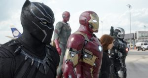 (l-r) Black Panther/T'Challa (Chadwick Boseman), Vision (Paul Bettany), Iron Man/Tony Stark (Robert Downey Jr.), Black Widow/Natasha Romanoff (Scarlett Johansson), and War Machine/James Rhodey (Don Cheadle) in MARVEL'S CAPTAIN AMERICA. ©Marvel.