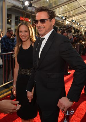 "Susan Downey (L) and actor Robert Downey Jr. at The World Premiere of Marvel's ""Captain America: Civil War"" at Dolby Theatre on April 12, 2016 in Los Angeles, California.  (Photo by Lester Cohen/Getty Images for Disney) *** Local Caption *** Susan Downey; Robert Downey Jr."