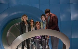(from left) Jennifer Lawrence as Raven / Mystique, Rose Byrne as Moira MacTaggert, James McAvoy as Charles / Professor X, Lucas Till as Alex Summers / Havok and Nicholas Hoult as Hank McCoy / Beast in X-MEN: APOCALYPSE. ©Marvel/20th Century Fox. CR: Alan Markfield.