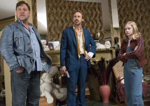 (l-r) Russell Crowe as Jackson Healy, Angourie Rice as Holly and Ryan Gosling as Holland March in THE NICE GUYS. ©Warner Bros. Entertainment. CR: Daniel McFadden.