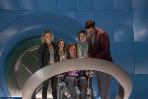 (from left) Jennifer Lawrence as Raven / Mystique, Rose Byrne as Moira MacTaggert, James McAvoy as Charles / Professor X, Lucas Till as Alex Summers / Havok and Nicholas Hoult as Hank McCoy / Beast, in X-MEN: APOCALYPSE. ©Marvel/20th Century Fox. CR: Alan Markfield.