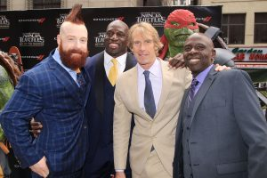 "(l-r) Stephen ""Sheamus"" Farrelly, Titus O'Neil, Michael Bay and Gary Anthony Williams at the New York Premiere of TEENAGE MUTANT NINJA TURTLES: OUT OF THE SHADOWS. ©Paramount/Starpix. CR: Dave Allocca/Starpix"
