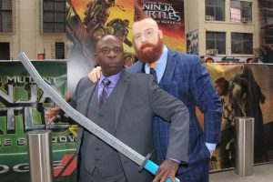 "Gary Anthony Williams as Bebop and Stephen ""Sheamus"" Farrelly stars as Rocksteady in TEENAGE MUTANT NINJA TURTLES: OUT OF THE SHADOWS. ©Paramount/Starpix CR: Dave Allocca/Starpix"