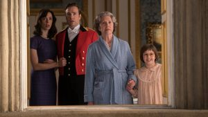Disney's THE BFG is the imaginative story of a young girl named Sophie (Ruby Barnhill, right) and the Big Friendly Giant (Oscar (TM) winner Mark Rylance) who introduces her to the wonders and perils of Giant Country   Penelope Wilton is the Queen (center), Rebecca Hall is Mary (left) and Rafe Spall is Mr. Tibbs. Directed by Steven Spielber. ©Storyteller Distribution Co, LLC.
