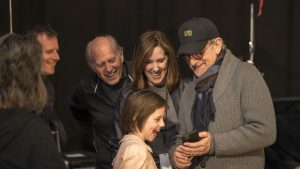 Director Steven Spielberg with Ruby Barnhill and producers Frank Marshall and Kathleen Kennedy on the set of Disney's fantasy-adventure, THE BFG, . ©Storyteller Distribution Co, LLC. CR: Doane Gregory.
