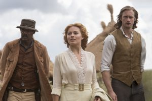 (l-r) Samuel L. Jackson, Margot Robbie and Alexander Skarsgard star in TARZAN. ©Wanrer Bros. Entertainment. CR: Jonathan Olley.