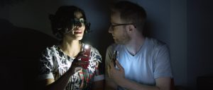 (l-r) Negin Farsad and jeremy Redleaf in 3RD STREET BLACKOUT. ©3rd Street Blackout.