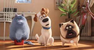(L to R) Chloe (LAKE BELL), Sweetpea, Norman (CHRIS RENAUD), Mel (BOBBY MOYNIHAN), Buddy (HANNIBAL BURESS), Tiberius (ALBERT BROOKS) and Gidget (JENNY SLATE) in Illumination Entertainment and Universal Pictures' THE SECRET LIFE OF PETS. ©Universal Studos. Cr: Illumination Entertainment/Universal Pictures.