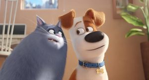 Chloe (LAKE BELL) is a fat cat who can't be bothered, unless you have food, and Max (LOUIS C.K.) is a pampered terrier mix in Illumination Entertainment and Universal Pictures' THE SECRET LIFE OF PETS. ©Illumination Entertainment/Universal Pictures.