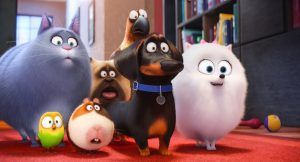 (L to R) Chloe (LAKE BELL), Sweetpea, Norman (CHRIS RENAUD), Mel (BOBBY MOYNIHAN), Buddy (HANNIBAL BURESS), Tiberius (ALBERT BROOKS) and Gidget (JENNY SLATE) in THE SECRET LIFE OF PETS. ©Illumination Entertainment/Universal Pictures.