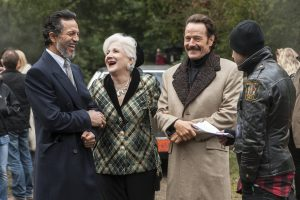 (l to r) Actors Benjamin Bratt, Olympia Dukakis, Bryan Cranston and Director Brad Furman enjoy a moment of levity behind the scenes on the set of THE INFILTRATOR. ©Broad Green Pictures. CR: Liam Daniel / Broad Green Pictures