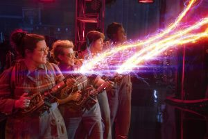 (l-r) The Ghostbusters Abby (Melissa McCarthy), Holtzmann (Kate McKinnon), Erin (Kristen Wiig) and Patty (Leslie Jones) in Columbia Pictures' GHOSTBUSTERS. ©CTMG. CR: Hopper Stone.