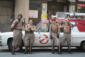(l-r) Ghostbuster's Patty Tolan (Leslie Jones), Abby Yates (Melissa McCarthy), Erin Gilbert (Kristen Wiig) and Jillian Holtzmann (Kate McKinnon) in Columbia Pictures' GHOSTBUSTERS. ©CTMG. CR: Hopper Stone.