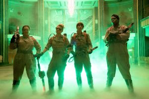 The Ghostbusters Abby (Melissa McCarthy), Holtzmann (Kate McKinnon), Erin (Kristen Wiig) and Patty (Leslie Jones) inside the Mercado Hotel Lobby in Columbia Pictures' GHOSTBUSTERS. ©CTMG. CR: Hopper Stone.
