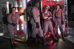 The Ghostbusters Abby (Melissa McCarthy), Patty (Leslie Jones), Holtzmann (Kate McKinnon) and Erin (Kristen Wiig) in Columbia Pictures' GHOSTBUSTERS. ©CTMG. CR: Hopper Stone.