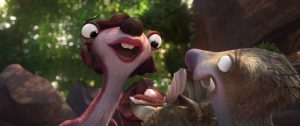 A lovelorn Sid (voiced by John Leguizamo) proposes to his lady friend, Francine (voiced by Melissa Rauch) —on their first date in ICE AGE: COLLISON COURSE. ©20th Century Fox. CR: Blue Sky Studios