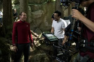 (l-r) Simon Pegg and Director Justin Lin on the set of STAR TREK BEYOND. ©Paramount Pictures. CR: Kimberley French.