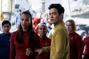 (l-r) Zoe Saldana plays Uhura and John Cho plays Sulu in STAR TREK BEYOND. ©Paramount Pictures. CR: Kimberley French.