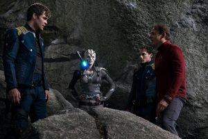 (l-r) Chris Pine plays Captain James T. Kirk, Sofia Boutella plays Jaylah, Anton Yelchin plays Chekov and Simon Pegg plays Montgomery 'Scotty' Scott in STAR TREK BEYOND. ©Paramount Pictures. CR: Kimberley French.