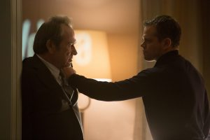 Jason Bourne (Matt Damon) and CIA Director Dewey (Tommy Lee Jones) in JASON BOURNE. ©Universal Studios. CR: Melinda Sue Gordon.