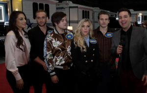 "The Band Perry on set of ""Celebrity Family Feud"" with Chris Trondsen. ©Pacific Rim Video. CR: Peter Gonzaga."
