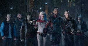 L-r) JAY HERNANDEZ as Diablo, JAI COURTNEY as Boomerang, ADEWALE AKINNUOYE-AGBAJE as Killer Croc, MARGOT ROBBIE as Harley Quinn, WILL SMITH as Deadshot, JOEL KINNAMAN as Rick Flag and KAREN FUKUHARA as Katana in SUICIDE SQUAD. ©Warner Bros. Entertainment. CR: Clay Enos.