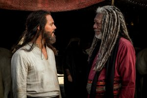 Jack Huston plays Judah Ben-Hur and Morgan Freeman plays Ilderim in BEN-HUR. ©Metro-Goldwyn-Mayer Pictures and Paramount Pictures. CR: Philippe Antonello