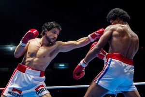 Edgar Ramírez and Usher Raymond star in HANDS OF STONE. ©The Weinstein Company. CR: Rico Torres.