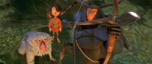 (l-r.) The battle is joined for Monkey (voiced by Academy Award winner Charlize Theron), Kubo (Art Parkinson), and Beetle (Academy Award winner Matthew McConaughey) in animation studio LAIKA's epic action-adventure KUBO AND THE TWO STRINGS. ©Laika Studios/Focus Features