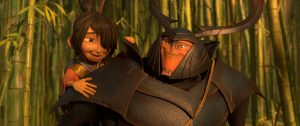 (l-r.) Kubo (voiced by Art Parkinson) gets a lift from his new friend and ally Beetle (Academy Award winner Matthew McConaughey) in animation studio LAIKA's epic action-adventure KUBO AND THE TWO STRINGS. ©Laika Studios/Focus Features