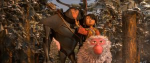 (l-r.) Beetle (Matthew McConaughey), Kubo (Art Parkinson), and Monkey (Charlize Theron) emerge from the Forest and take in the beauty of the landscape in animation studio LAIKA's epic action-adventure KUBO AND THE TWO STRINGS. © Laika Studios/Focus Features