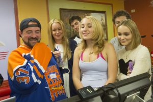 Kevin Smith, Harley Quinn Smith and Lily-Rose Depp on the set of YOGA HOSERS. ©Yoga-Hosers, LLC. CR: Holly Stein.