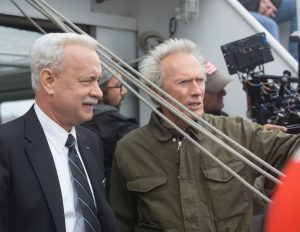 "(L-r) TOM HANKS with director/producer CLINT EASTWOOD on the set of Warner Bros. Pictures' and Village Roadshow Pictures' drama ""SULLY."" ©Warner Bros. Entertainment. CR: Keith Bernstein."