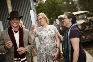 (l to r) James Mackay, Sarah Snook, and Director Jocelyn Moorhouse on the set of THE DRESSMAKER. ©Broad Green Pictures / Amazon Studios. CR: Ben King.