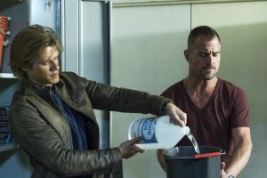 (l-t)  Lucas Till snf George Eads star in MACGYVER. ©CBS Broadcasting. CR: Annette Brown/CBS .