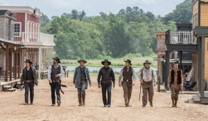 (l to r) Byung-hun Lee, Manuel Garcia-Rulfo, Ethan Hawke, Denzel Washington, Chris Pratt, Vincent D'Onofrio and Martin Sensmeier in Metro-Goldwyn-Mayer Pictures and Columbia Pictures' THE MAGNIFICENT SEVEN. ©MGM / Columiba Pictures. CR: Sam Emerson.