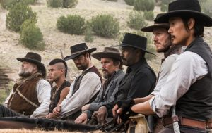 (l to r) Vincent D'Onofrio, Martin Sensmeier, Manuel Garcia-Rulfo, Ethan Hawke, Denzel Washington, Chris Pratt and Byung-hun Lee star in Metro-Goldwyn-Mayer Pictures and Columbia Pictures' THE MAGNIFICENT SEVEN. ©MGM / Columbia Pictures. CR: Scott Garfield.