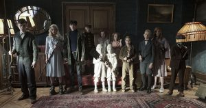 The residents of MISS PEREGRINE'S HOME FOR PECULIAR CHILDREN ready themselves for an epic battle against powerful and dark forces. (l-r) Enoch (Finlay Macmillan), Emma (Ella Purnell), Jake (Asa Butterfield), Hugh (Milo Parker), Bronwyn (Pixie Davies), the twins (Thomas and Joseph Odwell), Claire (Raffiella Chapman), Fiona (Georgia Pemberton), Horace (Hayden Keeler-Stone), Olive (Lauren McCrostie), and Millard (Cameron King). ©20th Century Fox. CR: Jay Maidment.