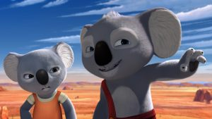 Nutsy (Voiced by Robin McLeavy) and Blinky Bill (voiced by Ryan Kwanten) take a journey in BLINKY BILL THE MOVIE. ©Shout!
