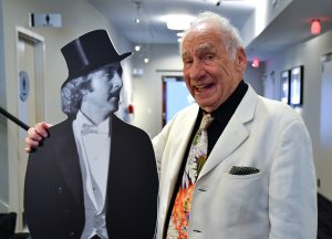 "Mel Brooks (right) with a cut out of Gene Wilder during a special screening hosts a live introduction to a nationwide Fathom Events screening of ""Young Frankenstein"" on Wednesday, October 5, 2016 at the 20th Century Fox Lot in Los Angeles, California. ©Vince Bucci/Fox/PictureGroup."