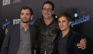 Jonás Cuarón, Jeffrey Dean Morgan and Gael García Bernal attend a special screening of DESIERTO at REGAL L.A. LIVE in Downtown Los Angeles, Calif. On Tuesday, October 11, 2016.  © Andrew Hreha/STX Entertainment.